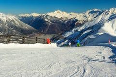 Bei alte montagne e pendii dello sci, Les Sybelles, Francia, Europa Fotografia Stock Libera da Diritti