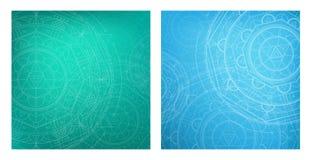 Bei ambiti di provenienza con la mandala della geometria Reticolo rotondo Colori del turchese e del blu Fotografia Stock