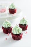 Bei bigné del cioccolato con crema verde Fotografie Stock Libere da Diritti