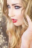Bei capelli di modello di Green Eyes Blond Immagine Stock