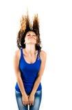 Bei capelli lancianti castana Immagini Stock Libere da Diritti