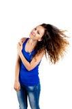 Bei capelli lancianti castana Fotografie Stock