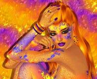 Bei capelli rossi, modo, immagine astratta di trucco 3d rendono l'arte Fotografie Stock