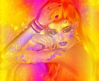 Bei capelli rossi, modo, immagine astratta di trucco 3d rendono l'arte Immagini Stock Libere da Diritti