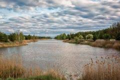 Bei cieli blu un giorno di molla lungo il fiume di Illinois Immagine Stock Libera da Diritti