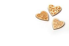 Bei cuori di legno rustici d'annata di Natale o dei biglietti di S. Valentino di nozze Immagine Stock Libera da Diritti