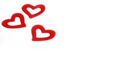 Bei cuori rossi di legno d'annata di amore per le nozze o i biglietti di S. Valentino Fotografia Stock