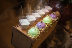Bei dessert dolci Panna cotta e soufflè variopinto Immagine Stock Libera da Diritti