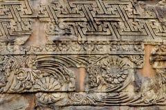 Bei disegni su Dhamekh Stupa a Sarnath fotografie stock