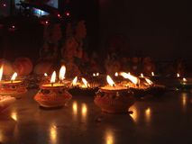 Bei diyas di Diwali Fotografia Stock Libera da Diritti