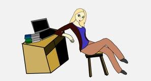 Bei donna e computer Immagine Stock