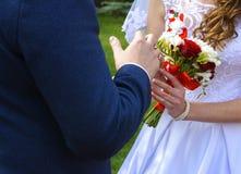 Bei e giovani sposa e sposo felici in vestito da sposa sulla a Immagini Stock Libere da Diritti