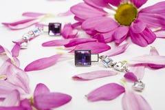 Bei earings di cristallo con i petali di lila Fotografia Stock