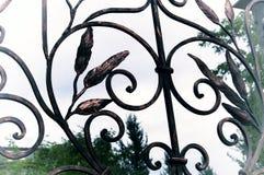 Bei elementi decorativi dei portoni del ferro battuto Immagine Stock