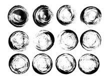 Bei elementi di progettazione del nero dell'acquerello Immagine Stock