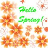 Bei fiori, cerchi e stelle arancio luminosi illustrazione vettoriale