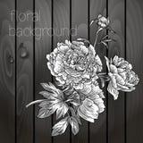 Bei fiori su una struttura di legno. Immagine Stock Libera da Diritti