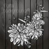 Bei fiori su una struttura di legno. Fotografie Stock Libere da Diritti