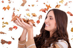 Bei fogli di autunno della holding della donna Fotografie Stock