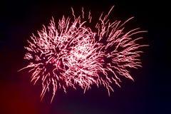 Bei fuochi d'artificio variopinti di festa sui precedenti neri del cielo Fotografia Stock