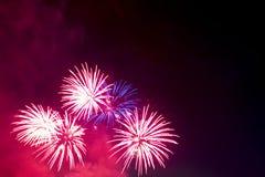 Bei fuochi d'artificio variopinti di festa sui precedenti neri del cielo Fotografia Stock Libera da Diritti
