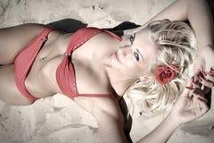 bei giovani della donna della spiaggia Fotografia Stock Libera da Diritti