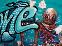 Bei graffiti di arte della via Fotografie Stock Libere da Diritti