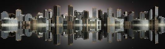 Bei grattacieli, bella vista del panorama della città, il tramonto sopra i grattacieli, paesaggio urbano della città Immagine Stock