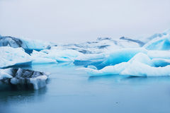 Bei iceberg blu nella laguna glaciale di Jokulsarlon, Islanda Fotografie Stock Libere da Diritti