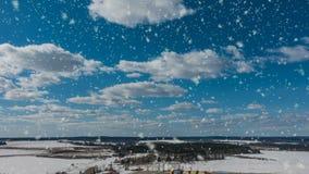 Bei intervalli di orario invernale con le belle precipitazioni nevose stock footage