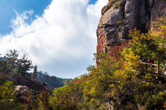 Bei Jiu Shui trail in Autumn, Laoshan Mountain, Qingdao, China. Bei Jiu Shui is famous for the many pools of crystal clear water and it`s waterfalls Royalty Free Stock Images