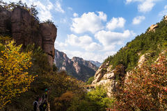 Bei Jiu Shui trail in Autumn, Laoshan Mountain, Qingdao, China. Bei Jiu Shui is famous for the many pools of crystal clear water and it`s waterfalls Royalty Free Stock Photo