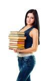 Bei libri della holding della ragazza dell'allievo Fotografia Stock