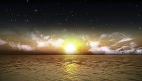 Bei mare e cielo notturno Fotografie Stock Libere da Diritti