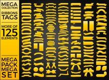 Bei nastri, etichette e progettazione stabilita di vettore della raccolta degli archi Immagini Stock