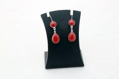 Bei orecchini rossi dell'argento della pietra preziosa Fotografia Stock Libera da Diritti