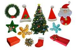 Bei ornamenti dell'albero di Natale su fondo bianco Immagini Stock Libere da Diritti
