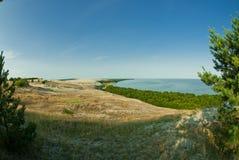 Bei paesaggio, dune, legno e mare Fotografie Stock Libere da Diritti