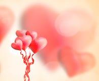 Bei palloni rossi del cuore Fotografia Stock
