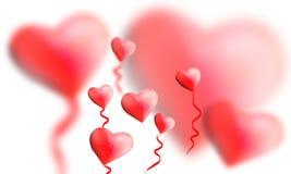 Bei palloni rossi del cuore Immagini Stock Libere da Diritti