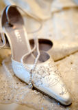 Bei pattini bianchi di lusso di cerimonia nuziale Fotografie Stock
