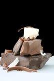 Bei pezzi del cioccolato fotografia stock libera da diritti