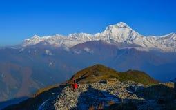 Bei picchi della neve della gamma di Annapurna fotografia stock