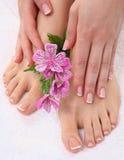 Bei piedi con il chiodo perfetto del francese della stazione termale Fotografie Stock Libere da Diritti