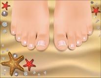 Bei piedi femminili con un pedicure Fotografia Stock