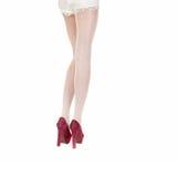 Bei piedini femminili in calze Fotografia Stock