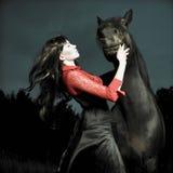 Bei ragazza e cavallo Immagini Stock
