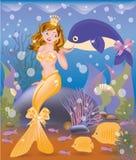 Bei ragazza e delfino dorati della sirena Immagini Stock