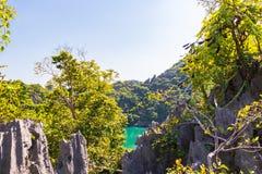 Bei rocce ed alberi con un lago con acqua verde fotografia stock libera da diritti