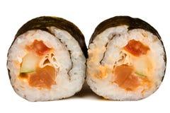 Bei rotoli di sushi isolati su bianco Fotografia Stock